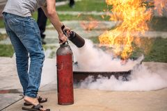 Basic Fire Fighting and Evacuation Fire Drill Simulation Training For Safety. In Condominium or Factory royalty free stock images