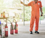 Basic fire fighting and evacuation fire drill Training on novembe. R 15 , 2017 in Bangkok, thailand stock photography