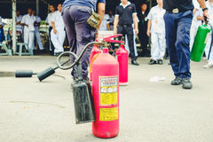 Basic Fire Fighting and Evacuation Fire Drill Training on October 26 , 2016 in Bangkok, Thailand royalty free stock photo