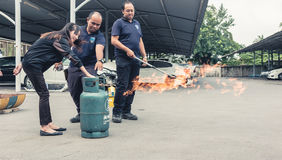 Basic Fire Fighting and Evacuation Fire Drill Training on October 26 , 2016 in Bangkok, Thailand stock photos