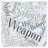 Basic firearm safety for hunters word cloud concept vector background Stock Photos