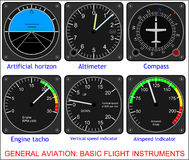 Basic flight instruments Stock Photos