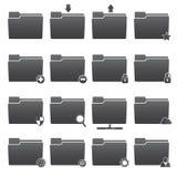 Basic Folder Icons Set. Basic symbol of folder icons set in black on white background Royalty Free Stock Images