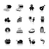 Basic - Food Icons. 16 food and restaurant icons set stock illustration