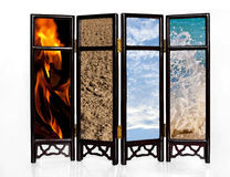 Basic four elements. The basic four elements of fire, earth, air and water on an oriental screen royalty free stock photos