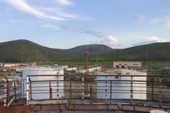 Basic fuel storage in Bilibino, Chukotka. Russian Federation stock photography