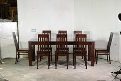 Enkel Solid Wood Six Seater Dining Set in Honey Oak royalty free stock image