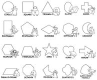 Basic geometric shapes with animal characters. Black and White Cartoon Illustration of Educational Basic Geometric Shapes for Preschool or Elementary School Stock Image