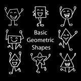 Basic Geometric Shapes. With Cute Cartoon Face Royalty Free Stock Photography