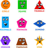 Basic Geometric Shapes with Cartoon Faces Stock Photography