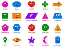 Basic geometric shapes with cartoon faces. Characters for children education royalty free illustration