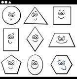 Basic Geometric Shapes for coloring. Black and White Cartoon Illustration of Educational Basic Geometric Shapes Funny Characters for Children Coloring Page stock illustration
