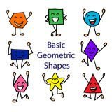 Basic Geometric Shapes. With Cute Cartoon Face Royalty Free Stock Photo