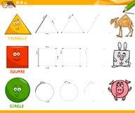 Basic geometric shapes drawing worksheet Stock Photos