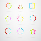 Basic Geometric Shapes Vector Retro Icons Stock Image