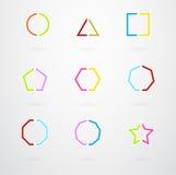 Basic Geometric Shapes Vector Retro Icons. Basic Geometric Shapes Vector Icon Set In Retro Colors Stock Image