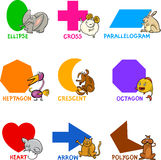 Basic Geometric Shapes With Cartoon Animals Stock Photography