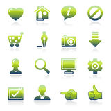 Basic green icons. Royalty Free Stock Photo