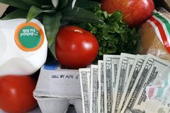Basic groceries with money Royalty Free Stock Photography