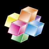 Basic hypercube - Mathematical shape Royalty Free Stock Images