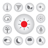 Basic icon set for weather Stock Photos