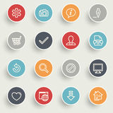 Basic icons with color buttons on gray background. Stock Photos