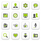 Basic icons. Green gray series. Royalty Free Stock Photography