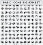 Basic icons 930 set Stock Photos