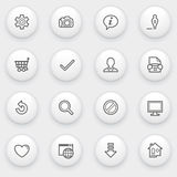 Basic icons with white buttons on gray background. Stock Image