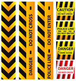 Basic illustration of police security tapes, yellow and black. Basic illustration of police security tapes, yellow with black and red, llustration Stock Photos