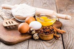 Basic ingredients for baking Royalty Free Stock Images