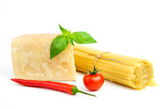 Basic Ingredients for spaghetti Royalty Free Stock Photo