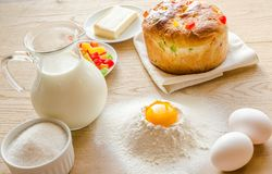 Basic ingredients for sweet bread (panettone) Stock Photo