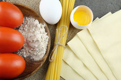 Basic ingridients for cooking Italian pasta. royalty free stock image