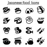 Basic Japanese food icons set Stock Images