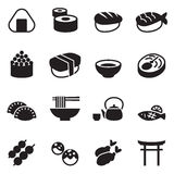 Basic Japanese food icons set Stock Image