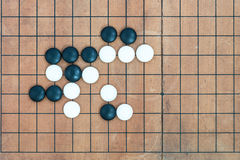 Basic joseki in conner on go game board. Top view black and white stones playing with basic joseki in conner on go game board, traditional chinese strategy board Royalty Free Stock Image