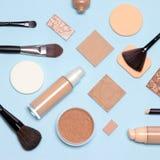 Basic skincare make up products flatlay stock photo