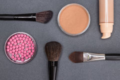Basic makeup products to create beautiful complexion Royalty Free Stock Image