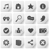 Basic media icon set Stock Photography