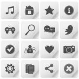 Basic media icon set Stock Photography