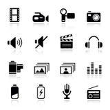 Basic - Media Icons. 16 media and technology icons set vector illustration