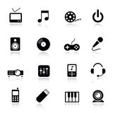 Basic - Media Icons. 16 media and technology icons set Stock Images