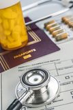 Basic medicine elements to travel abroad,. Conceptual image Stock Image