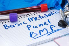 Basic metabolic panel BMP biochemical blood test concept photo. Note with text basic metabolic panel is next to lab test tubes w. Ith blood, gloves and Royalty Free Stock Photo
