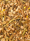 Basic muesli  with herbs background for horse . close up Royalty Free Stock Image