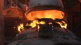 A basic oxygen furnace closeup stock footage