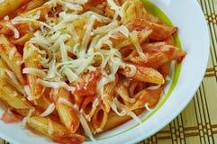 Basic Parmesan Pomodoro. Best Pasta  penne close up Stock Photo