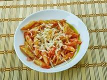 Basic Parmesan Pomodoro. Best Pasta  penne close up Stock Photos