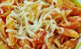 Basic Parmesan Pomodoro. Best Pasta  penne close up Stock Images